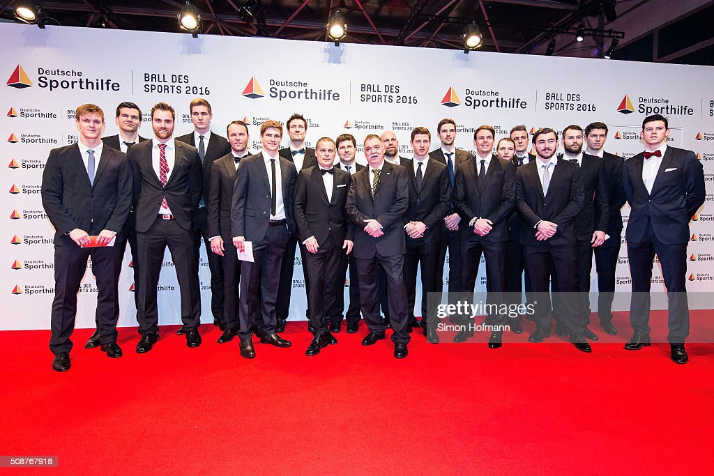 The German Handball National Team attends German Sports Gala 'Ball des Sports 2016' on February 6, 2016 in Wiesbaden, Germany.