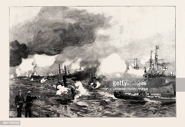 The German Manoeuvres In Schleswigholstein Torpedo Boats Attacking A Squadron Of Ironclads Off Flensburg 1890 Engraving