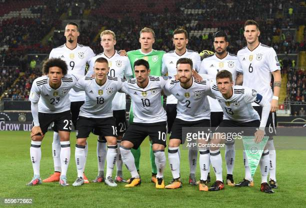 The German national soccer team first row left to right Germanys midfielder Leroy Sane Germanys defender Joshua Kimmich Germanys midfielder Lars...