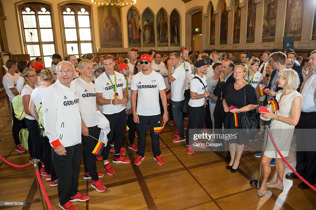 The German olympic athletes arrive at Frankfurt city hall on August 23 2016 in Frankfurt am MaIN GERMANY