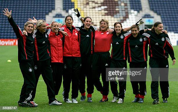 The german players celebrate during the training session of the German National Team at the UEFA Women Championships on June 14 2005 in Preston...