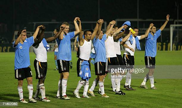 The German players celebrates winning the UEFA EURO 2008 qualifier between San Marino and Germany at the Olimpico Stadium on September 6 2006 in...