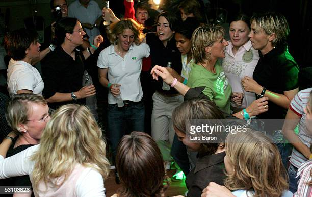 The German players dance during the champions party of the German National Team at the UEFA Women's Euro 2005 on June 19 2005 at the Marriott Hotel...