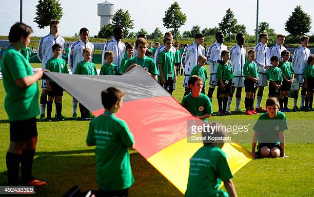 The german players pose prior to the international friendly U15 match between Germany and Netherlands on May 20 2014 in Weingarten Germany