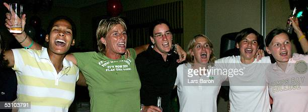 The german players sing during the champions party of the German National Team at the UEFA Women's Euro 2005 on June 19 2005 at the Marriott Hotel in...