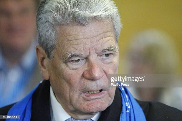 REGENSBURG BAVARIA GERMANY The German President Joachim Gauck visits the stall of Renovabis a Catholic charity that works mostly in Middle East and...