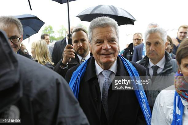 REGENSBURG BAVARIA GERMANY The German President Joachim Gauck walks across the The Katholikentagsmeile is an area at the Deutscher Katholikentag...