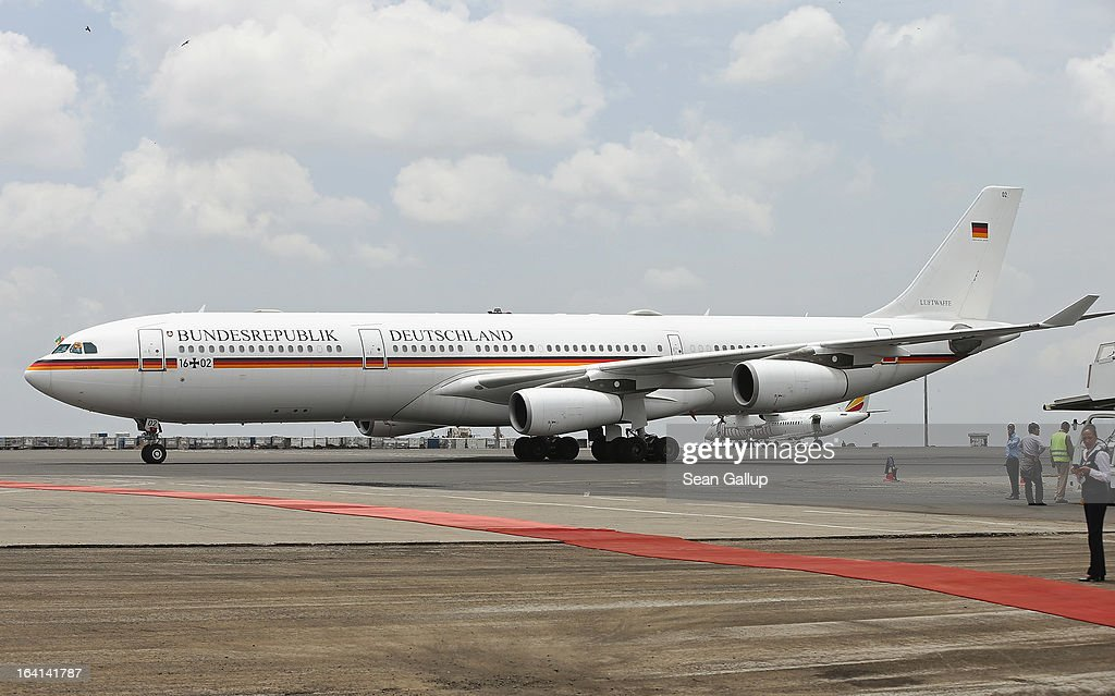 The German presidential plane, an Airbus A340, taxis toward its boarding position prior to the departure of German President Joachim Gauck at Bole International Airport on March 20, 2013 in Addis Ababa, Ethiopia. President Gauck and First Lady Daniela Schadt were in Ethiopia for a four-day state visit.