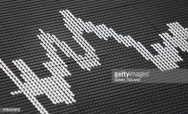 The German stock market index DAX is displayed on a giant board at the stock exchange in Frankfurt am Main western Germany on June 9 2015 AFP PHOTO /...