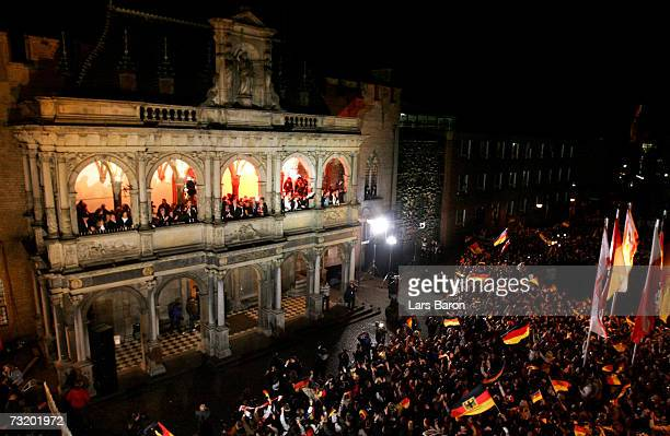The german team celebrate on the balcony during the reception of the Mens German National Handball Team at the Cologne guildhall on February 4 2007...