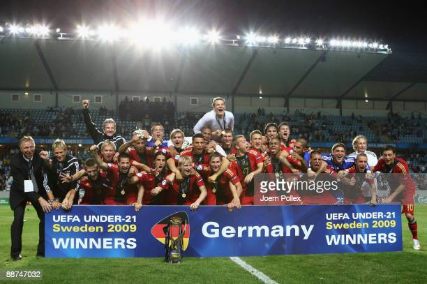 The German team celebrates after winning the UEFA European U21 Championship Final match between England and Germany at New Stadium on June 29 2009 in...