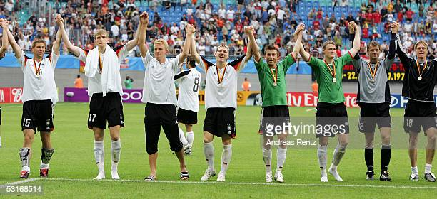 The German Team celebrates winning after the game between Germany and Mexico for the third place at the FIFA Confederations Cup 2005 at the Zentral...