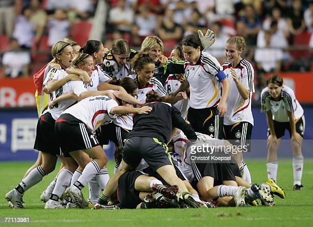 The German Team celebrates winning the Women's World Cup 2007 Final match between Brazil and Germany at the Shanghai Hongkou Football Stadium...