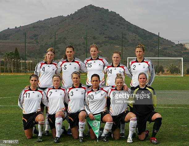 The German team lines up before the start of the U23 women's friendly football match between Germany the US at the La Manga Resort on Ferbruary 15...