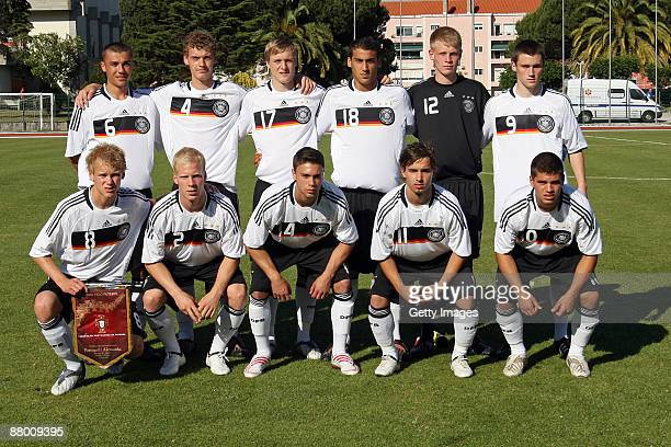 The german team lines up before the U18 International Friendly match between Portugal and Germany at the Estadio 1 Maio on May 27 2009 in Lisboa...