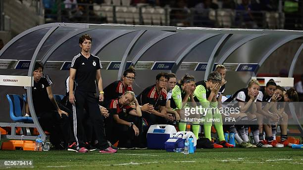The German team look on from the bench during the FIFA U20 Women's World Cup Papua New Guinea 2016 Quarter Final match between Germany and Fra