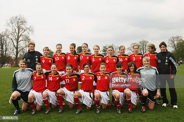 The German team pose after the U15 Women's international friendly match between England and Germany at The National Sports Centre on April 16 2008 in...