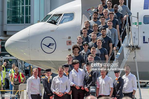 The German team poses before the departure of the German National Team to the European Football Championships 2016 in France at Frankfurt...