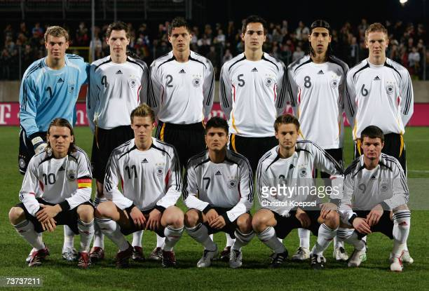 The German team poses Manuel Neuer Robert Flessers Sebastian Bonisch Mats Hummels Sami Khedira and Jan Rosenthal Eugen Polanski Rouwen Hennings Baris...