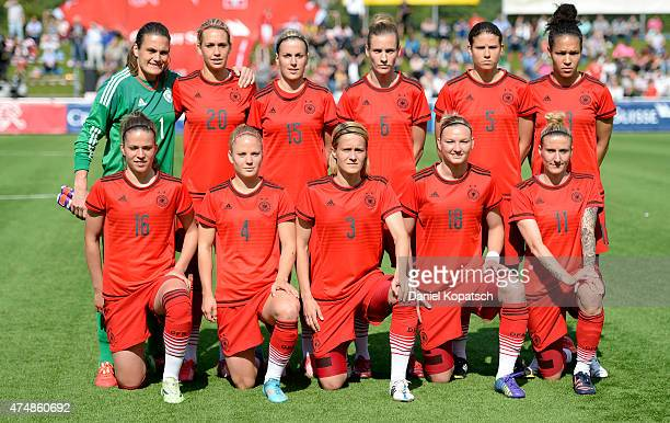 The German team poses prior to the women's international friendly match between Switzerland and Germany on May 27 2015 in Baden Switzerland