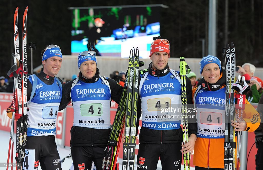 The German team with Erik Lesser Arnd Peiffer Andreas Birnbacher and Simon Schempp pose after the men 4 x 75 km relay at the Biathlon World Cup on...