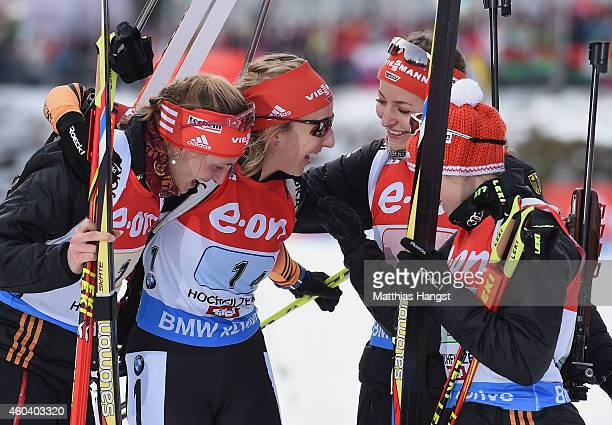 The German team with Vanessa Hinz of Germany Franziska Preuss of Germany Luise Kummer of Germany and Frannziska Hildebrand of Germany celebrate after...