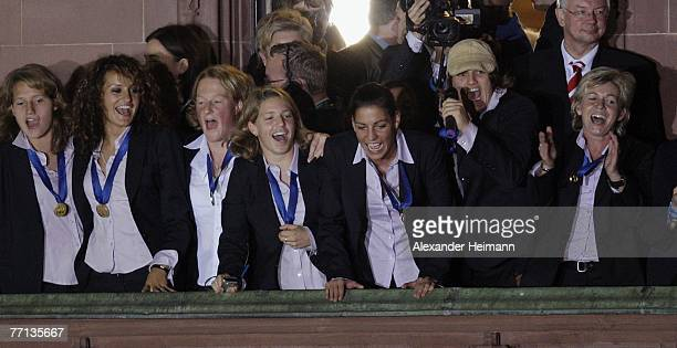 The German Womens National Soccer Team celebrates after returning home from the World Championship October 1 2007 in Frankfurt Germany The team...