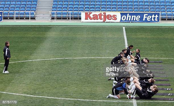 The German women's national team excercise during a Katjes Werbespot advertising shoot filmed during a break in the Algarve Cup 2005 on March 12 2005...