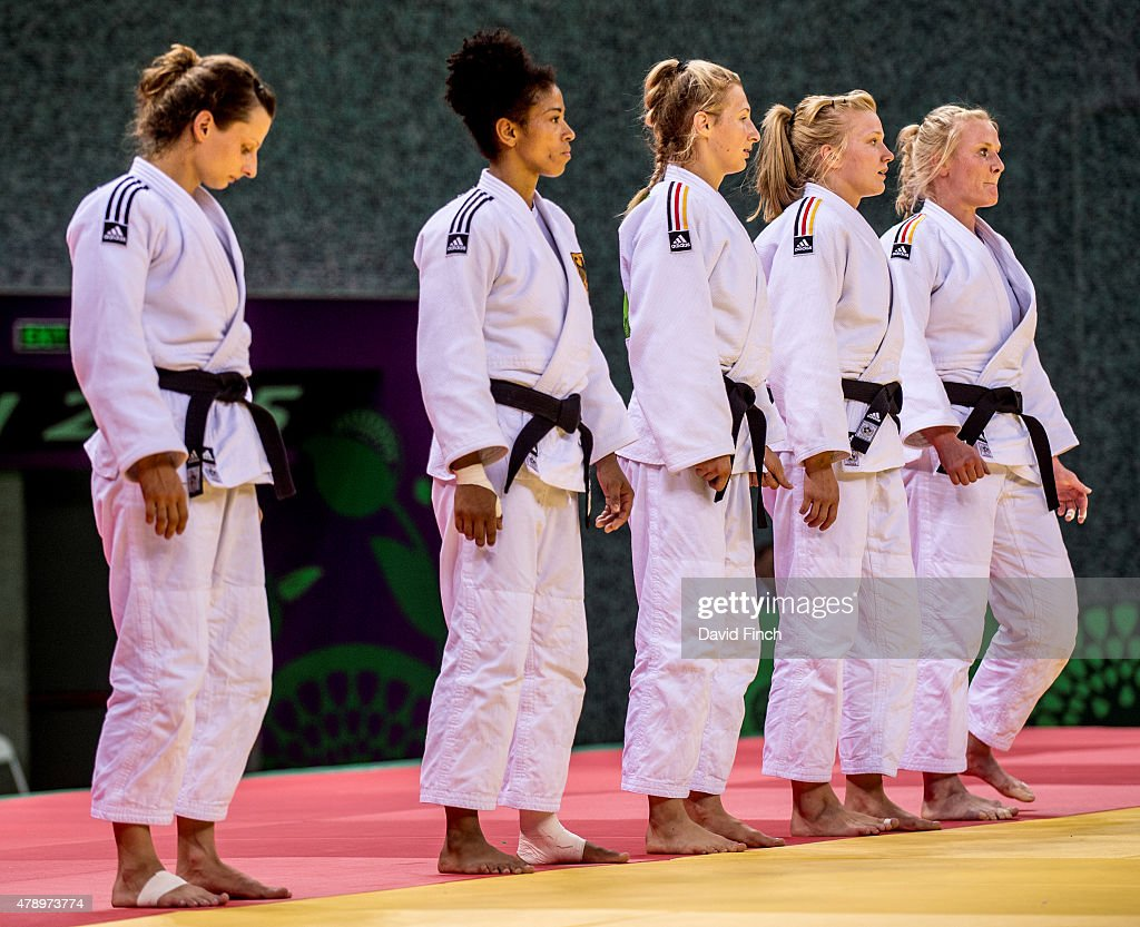 The German Women's team lines up after defeating Russia 3 - 2 to reach the final and the silver medal (L-R) Mareen Kraeh, Miryam Roper, Martina Trajdos, Szaundra Diedrich and Luise Malzahn during the 2015 Baku European Judo Championships at the <a gi-track='captionPersonalityLinkClicked' href=/galleries/search?phrase=Heydar+Aliyev&family=editorial&specificpeople=2596469 ng-click='$event.stopPropagation()'>Heydar Aliyev</a> Arena, Baku, Azerbaijan.
