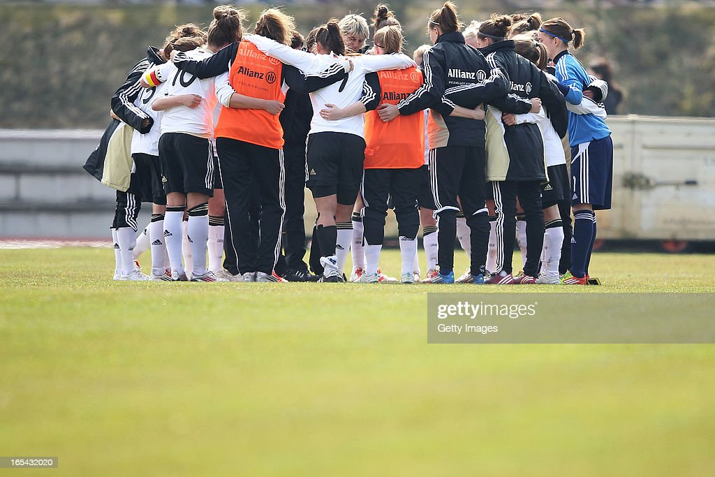 The German women's U19 national team celebrates after winning the Women's UEFA U19 Euro Qualification match between U19 Germany and U19 Spain at Waldstadion in Viernheim on April 4, 2013 in Viernheim, Germany.