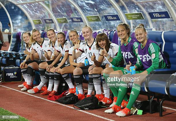 The Germany substitutes on the bench prior to the FIFA U17 Women's World Cup Jordan 2016 Group B match between Germany and Canada at Amman...