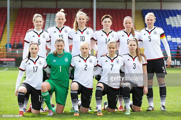 The Germany team before the Women's U19 Championship Elite Round match between Germany and Azerbaijan at Tolka Park on April 10 2016 in Dublin Ireland