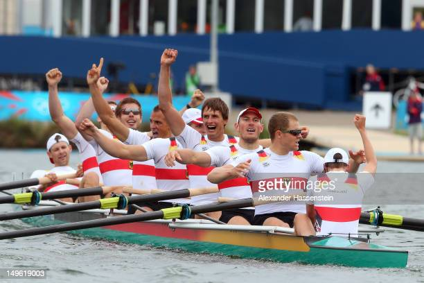 The Germany team celebrate after winning gold in the Men's Eight Final on Day 5 of the London 2012 Olympic Games at Eton Dorney on August 1 2012 in...