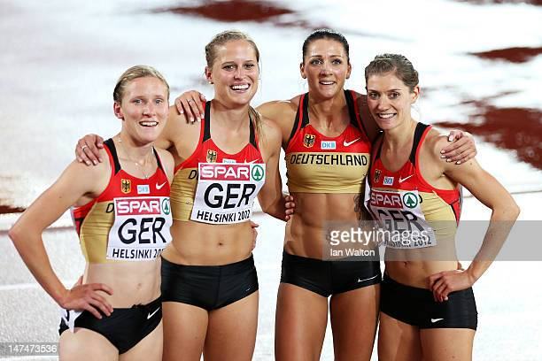 The Germany team celebrate reaching the final following their Women's 4x400 Metres Semi Final during day four of the 21st European Athletics...
