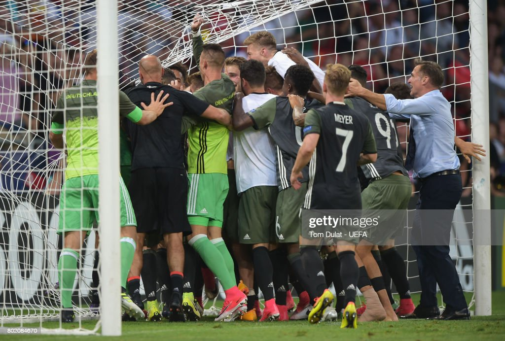 The Germany team celebrate their side winning a penalty shoot out during the UEFA European Under-21 Championship Semi Final match between England and Germany at Tychy Stadium on June 27, 2017 in Tychy, Poland.