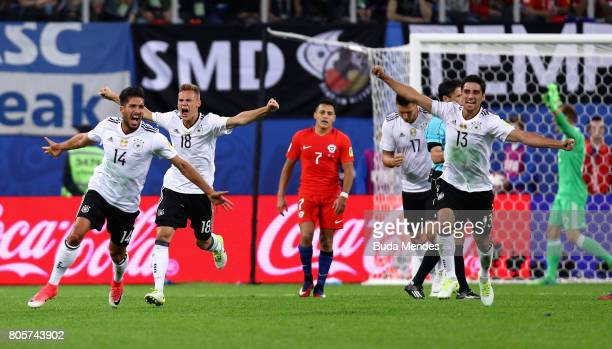The Germany team celebrate victory after the FIFA Confederations Cup Russia 2017 Final between Chile and Germany at Saint Petersburg Stadium on July...