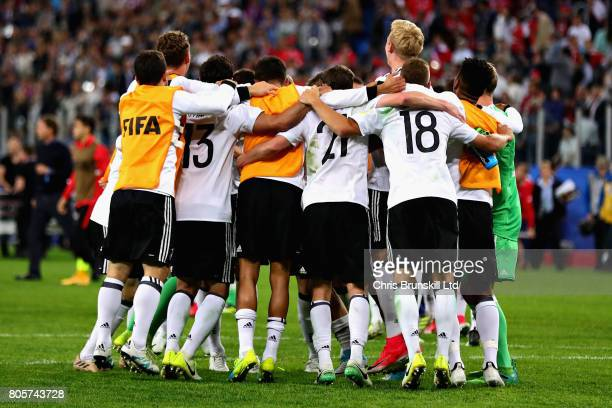 The Germany team celebrate victory at the final whistle during the FIFA Confederations Cup Russia 2017 Final match between Chile and Germany at Saint...