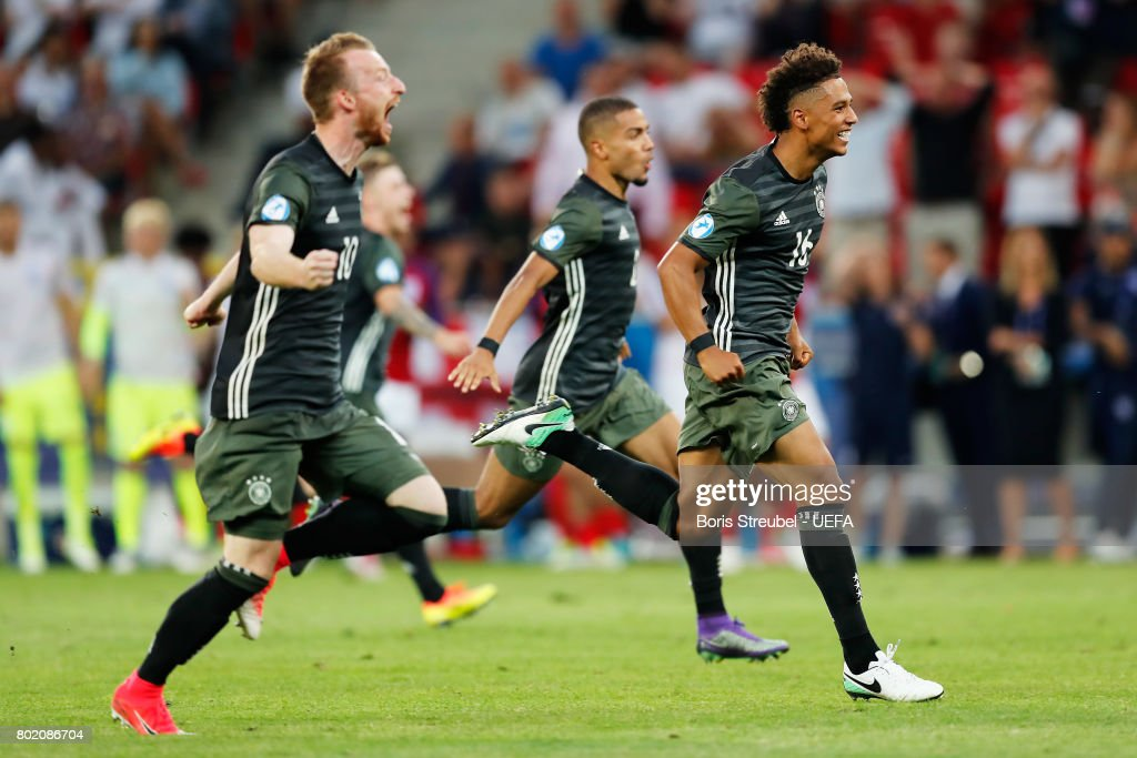 The Germany team celebrate winning their penalty shoot out after the UEFA European Under-21 Championship Semi Final match between England and Germany at Tychy Stadium on June 27, 2017 in Tychy, Poland.