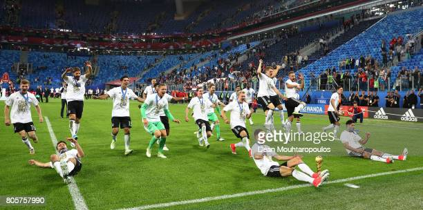 The Germany team celebrates with the FIFA Confederations Cup trophy after the FIFA Confederations Cup Russia 2017 Final between Chile and Germany at...
