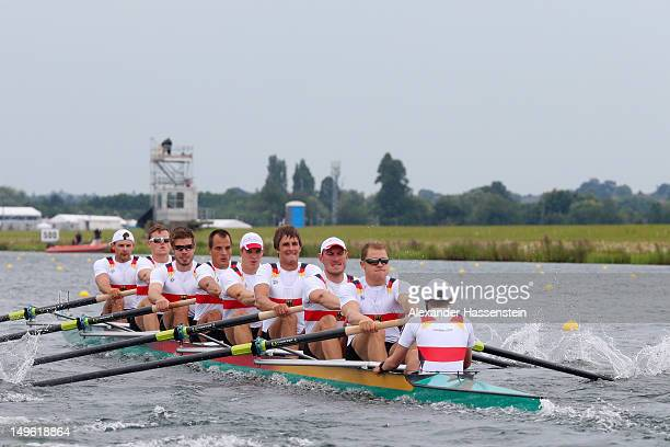 The Germany team competes in the Men's Eight Final on Day 5 of the London 2012 Olympic Games at Eton Dorney on August 1 2012 in Windsor England