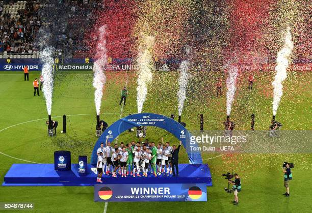 The Germany team lift the trophy after the UEFA European Under21 Championship Final match between Germany and Spain on June 30 2017 in Krakow Poland