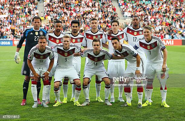 The Germany team lines up during the UEFA EURO 2016 Qualifier Group D match between Gibraltar and Germany at Estadio Algarve on June 13 2015 in Faro...