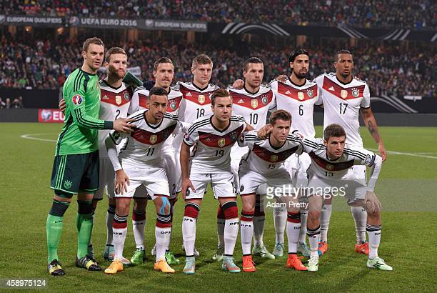 The Germany team pose prior to the EURO 2016 Group D Qualifier match between Germany and Gibraltar at Grundig Stadion on November 14 2014 in...