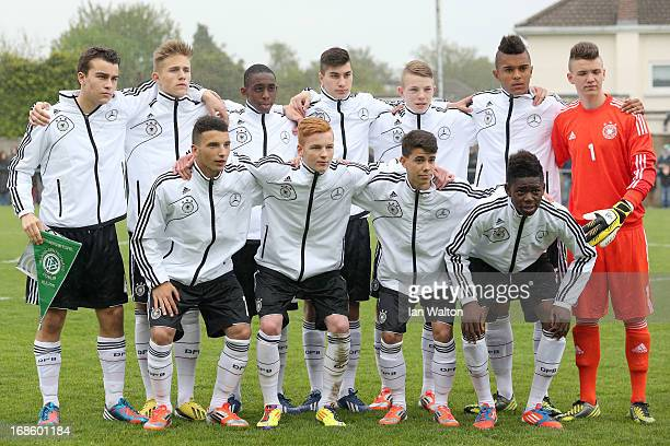 The Germany U16 team lines up prior to the UEFA Under 16 Development Tournament match between Republic of Ireland and Germany at St Kevins Boys Club...