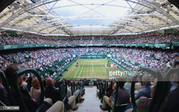 The GerryWeberStadium is seen during the semifinal match of German tennis player Tommy Haas and Swiss Roger Federer at the ATP Gerry Weber Open...