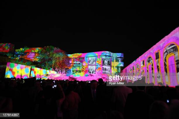 The Getty's classic curves are bathed in light for 'The Moment' during the Pacific Standard Time Art in LA 19451980 opening event held at the Getty...