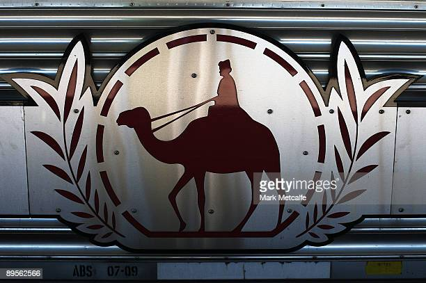 The Ghan logo is displayed on the side of The Ghan on August 2 2009 in Adelaide Australia The commemorative trip from Adelaide to Darwin celebrates...