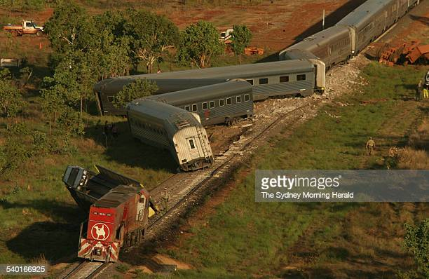 The Ghan train derails 135 kilometres south of Darwin after colliding with a road train at a level crossing 12 December 2006 SMH Picture by GLENN...