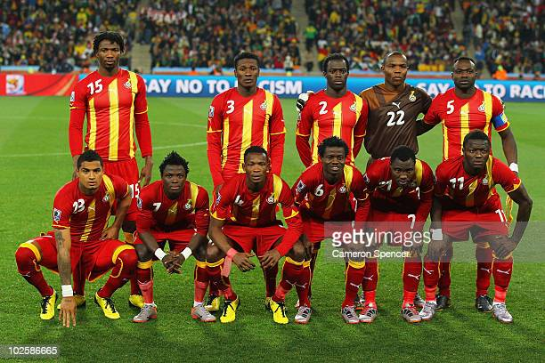The Ghana team line up for a group photo prior to the 2010 FIFA World Cup South Africa Quarter Final match between Uruguay and Ghana at the Soccer...