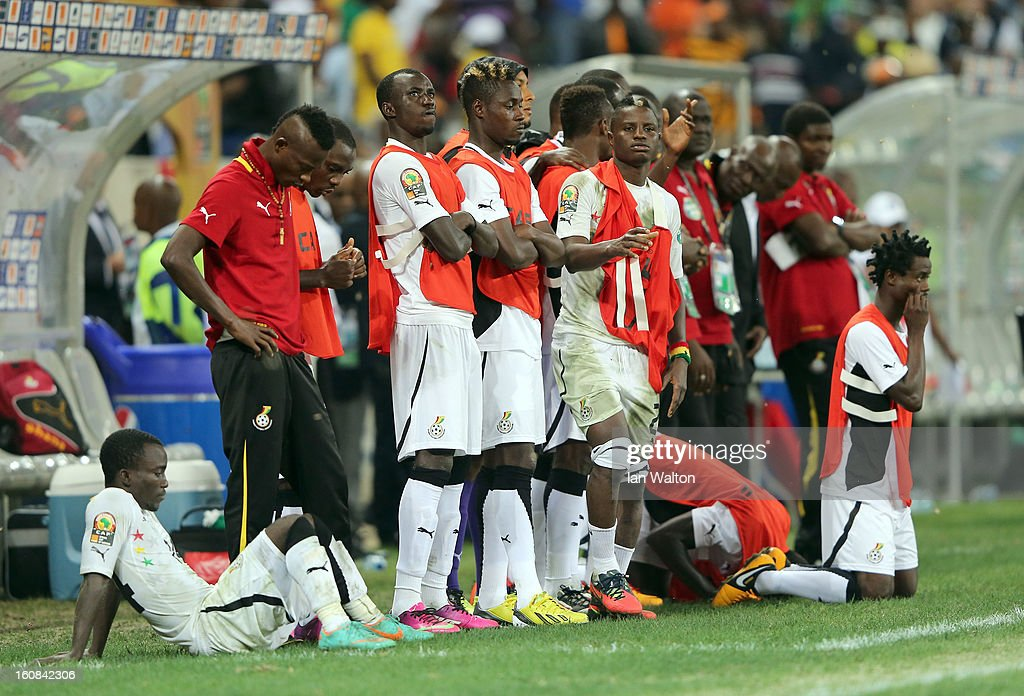 The Ghana team look on during the penalty shootout during the 2013 Africa Cup of Nations Semi-Final match between Burkina Faso and Ghana at the Mbombela Stadium on February 6, 2013 in Nelspruit, South Africa.